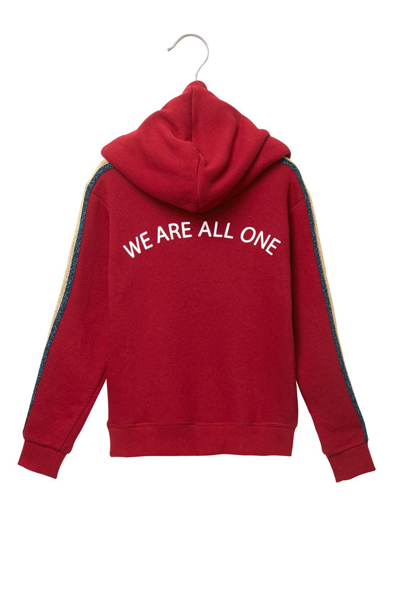 We Are All One Girls Pullover Hoodie Deep Red