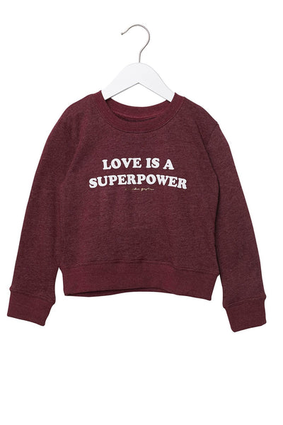LOVE IS A SUPERPOWER KIDS SWEATSHIRT - Spiritual Gangster