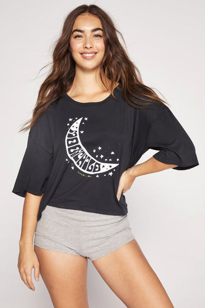 MOON CHILD ICON TEE VINTAGE BLACK - Spiritual Gangster