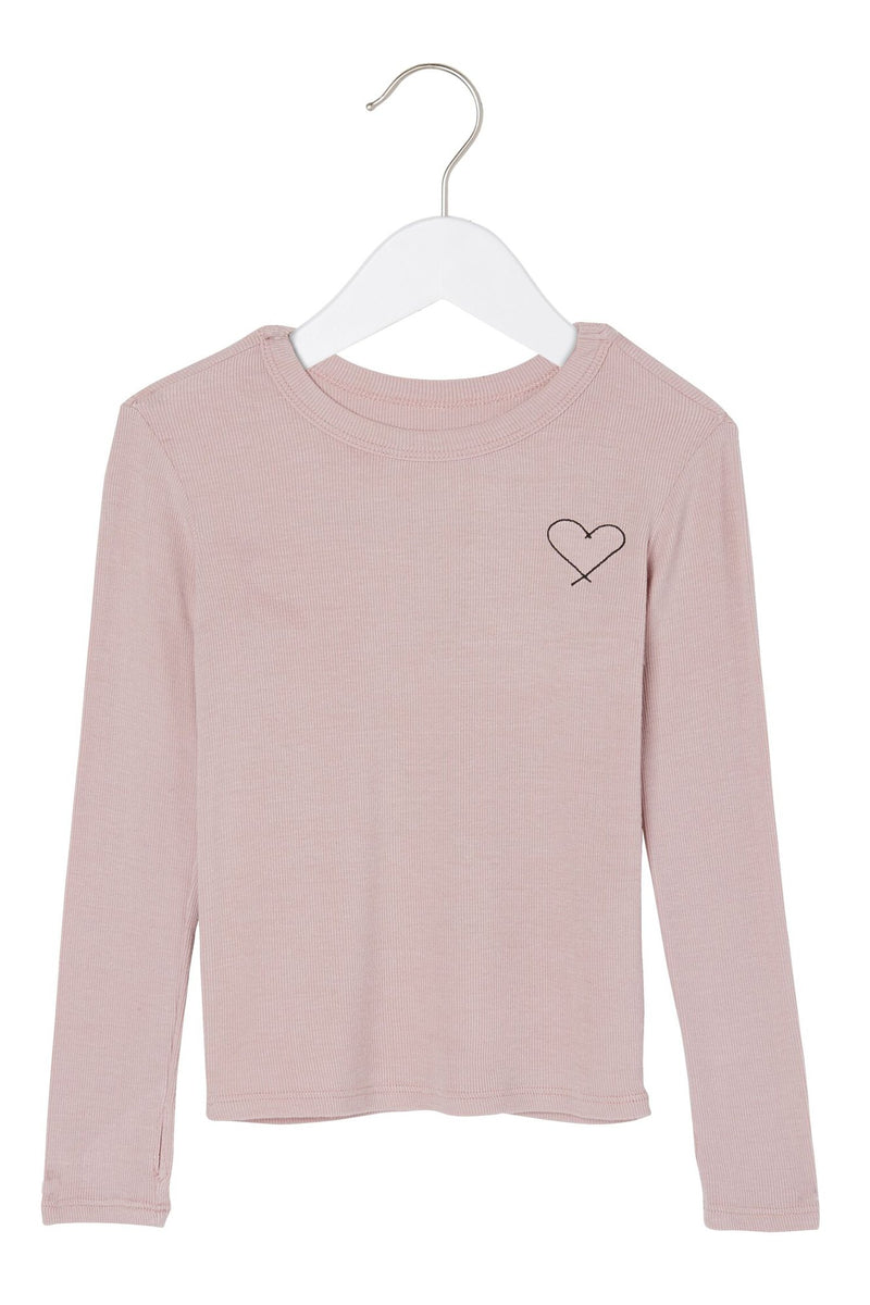 FROM THE HEART RIBBED GIRLS LS TEE