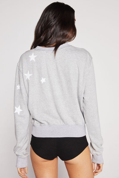 SG VARSITY STARRY CROP SWEATSHIRT SPARKLE HEATHER - Spiritual Gangster