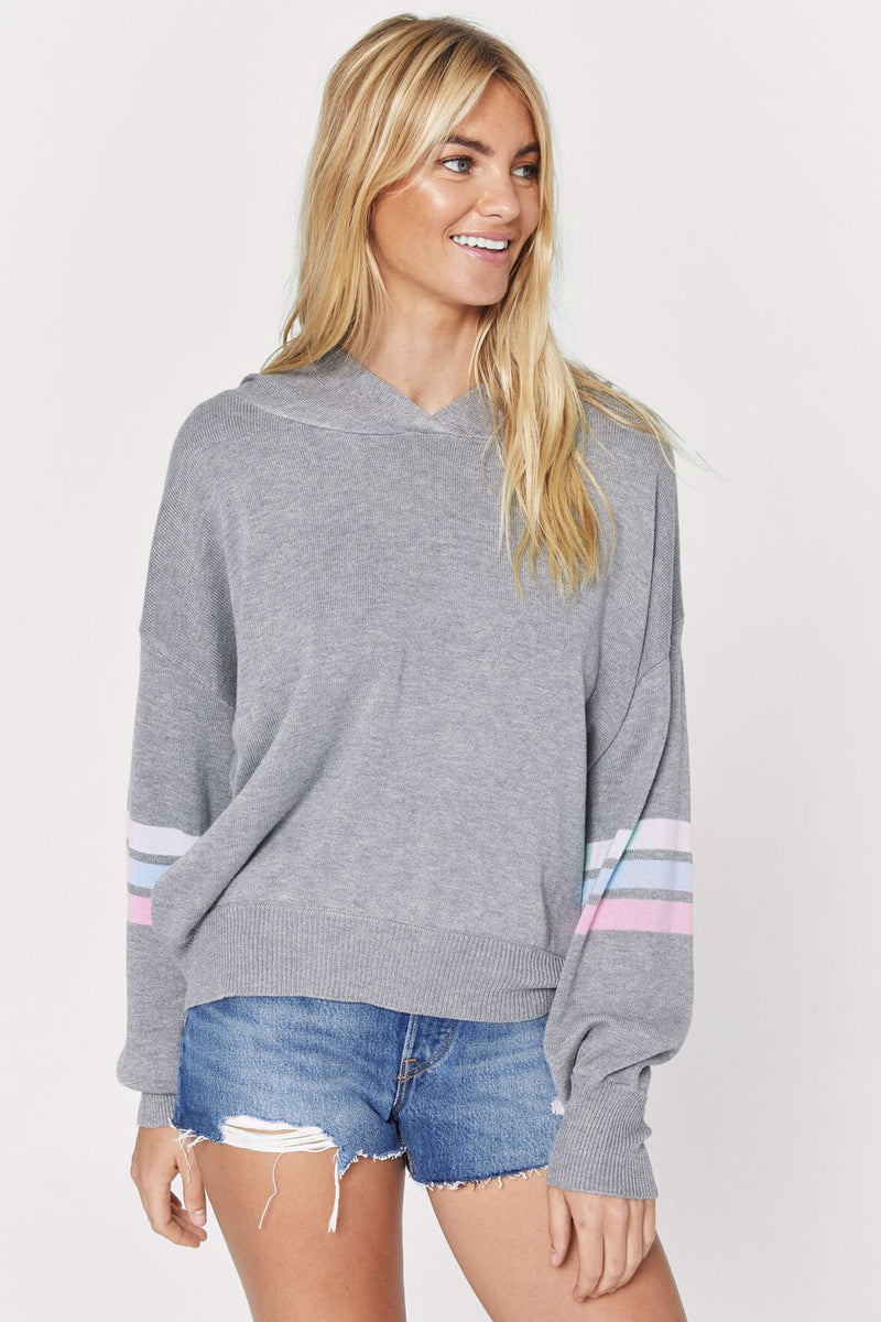 STRIPED MIA HOODED SWEATER