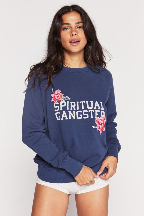 SG VARSITY EMBROIDERED CLASSIC CREW SWEATSHIRT - Spiritual Gangster