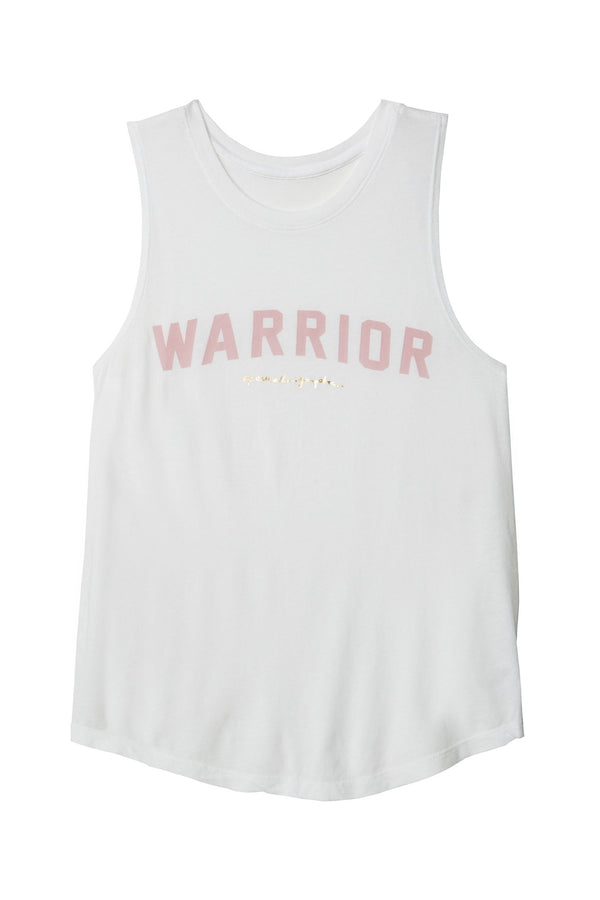 WARRIOR BREAST CANCER AWARENESS TANK WHITE - Spiritual Gangster