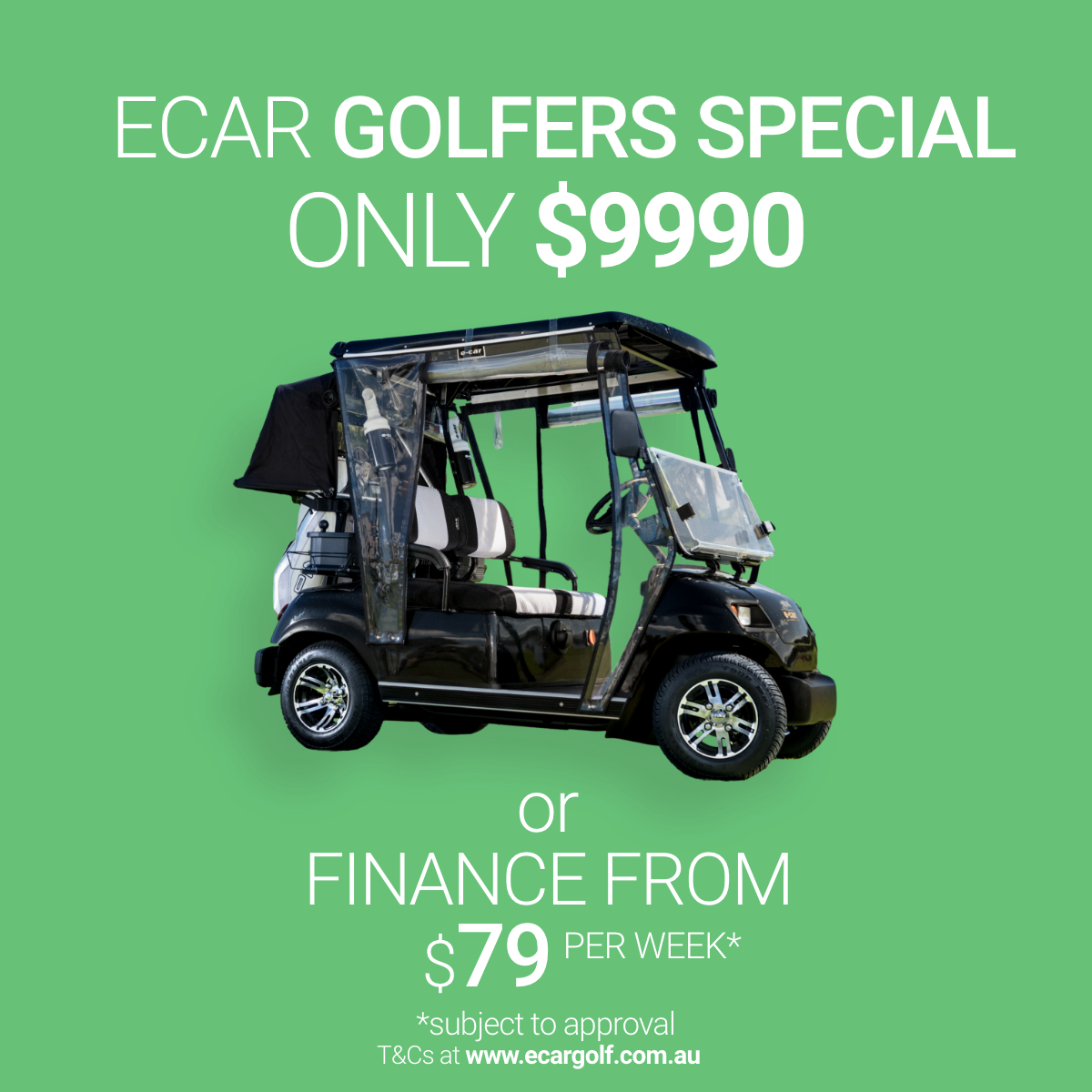 ECAR Golfers Package Special ELECTRIC CART SALE