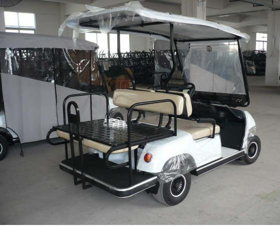 Rear Side White ECAR LT-A2+2 4 Seat Electric Golfers Community Cart Buggy