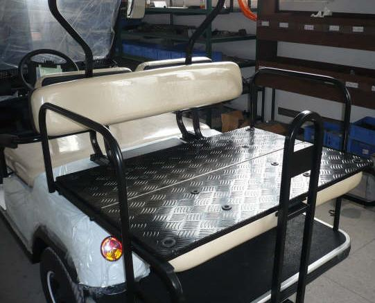 Rear Fold Out Seat Tray White ECAR LT-A2+2 4 Seat Electric Golfers Community Cart Buggy