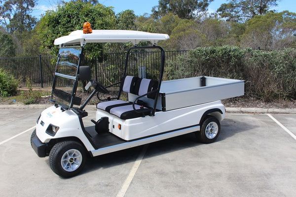 Side Photo White ECAR Golf LT-A2.H8 - 2 Seat Utility Long Wheel Base Electric Cargo Commercial Cart Buggy