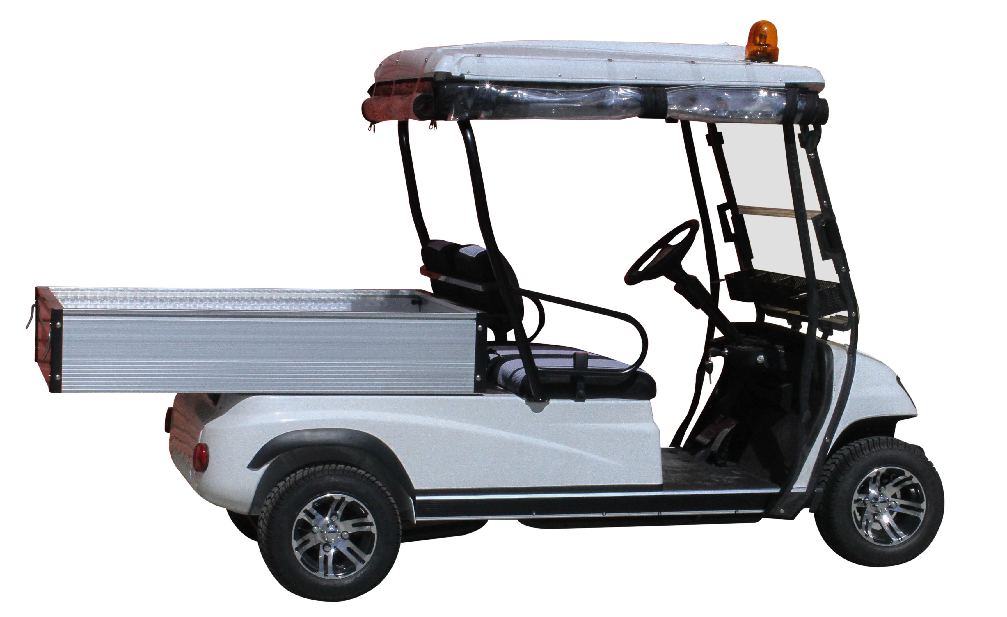 Side Photo White ECAR LT-A2.AH2 - 2 Seat Utility Electric Cart Buggy Rear Tray Transport