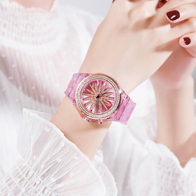 SKMEI Rotating Flower Dial LED Light  Fashion Women Watch