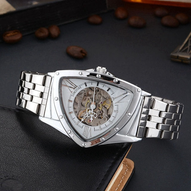Men Watch Triangle Mechanical Watches Stainless Steel Men's Wristwatches