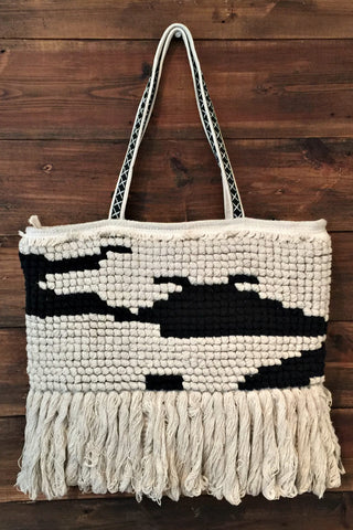 Black Boho Tote Bag