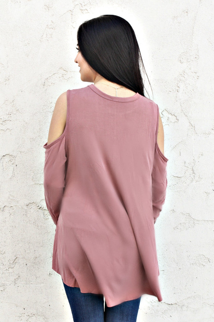 Mauve Cold Shoulder Top