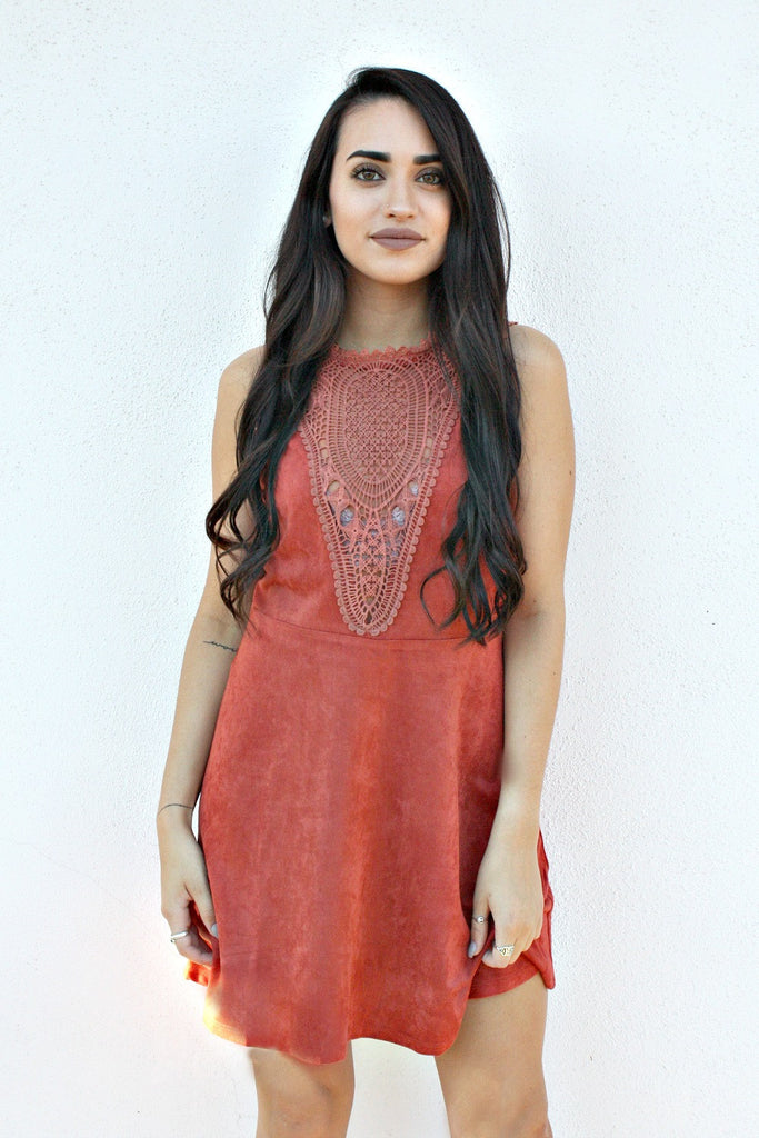 Laced Suede Dress