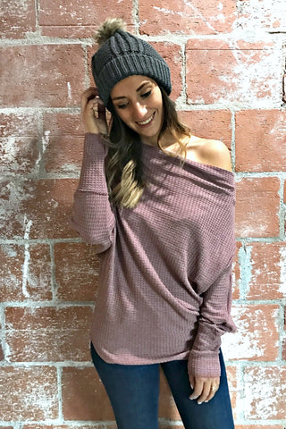 Maroon Off-the-Shoulder Sweater
