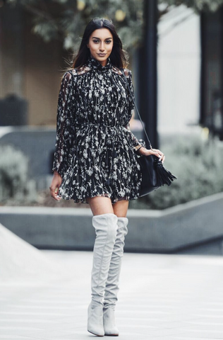 Dress with over-the-knee boots