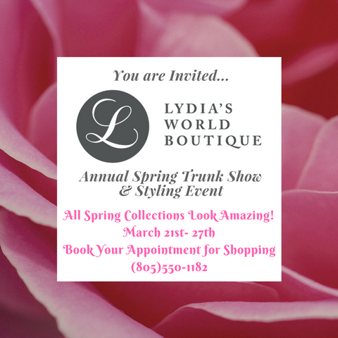 Lydia's World Boutique Spring Trunk Show Invitation