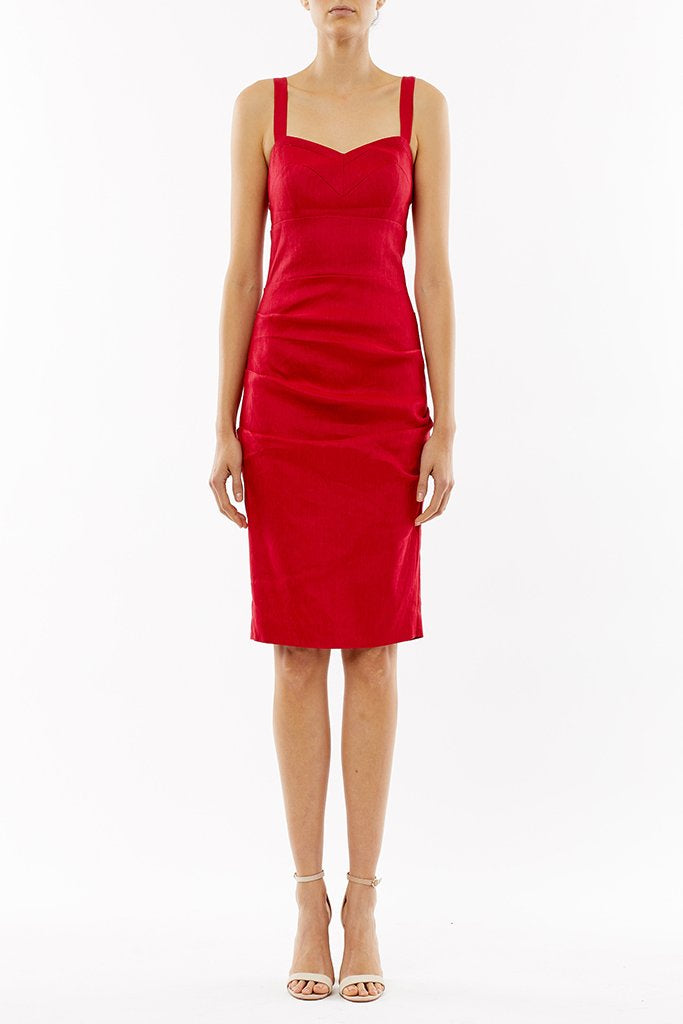 Nicole Miller - Stretch Linen Bra Top Tuck Dress in Cranberry