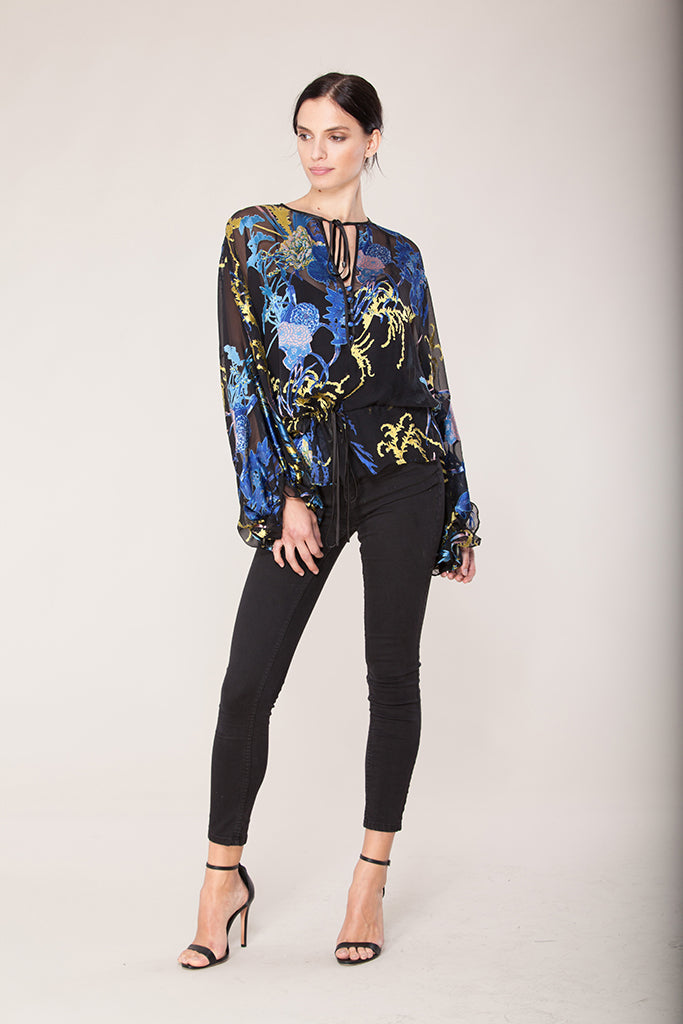Hale Bob - Tunic top in black print - Lydia's World Boutique