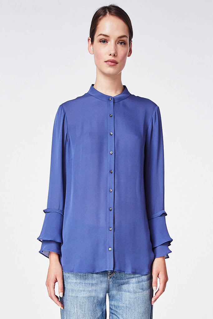 Nicole Miller -  Silk Blend Ruffle Sleeve Blouse in denim blue FINAL SALE - Lydia's World Boutique