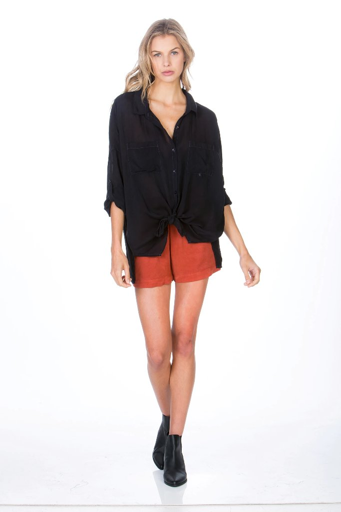 Maven West - Our #1 selling top - Long Sleeve Cargo Pocket Top in Black