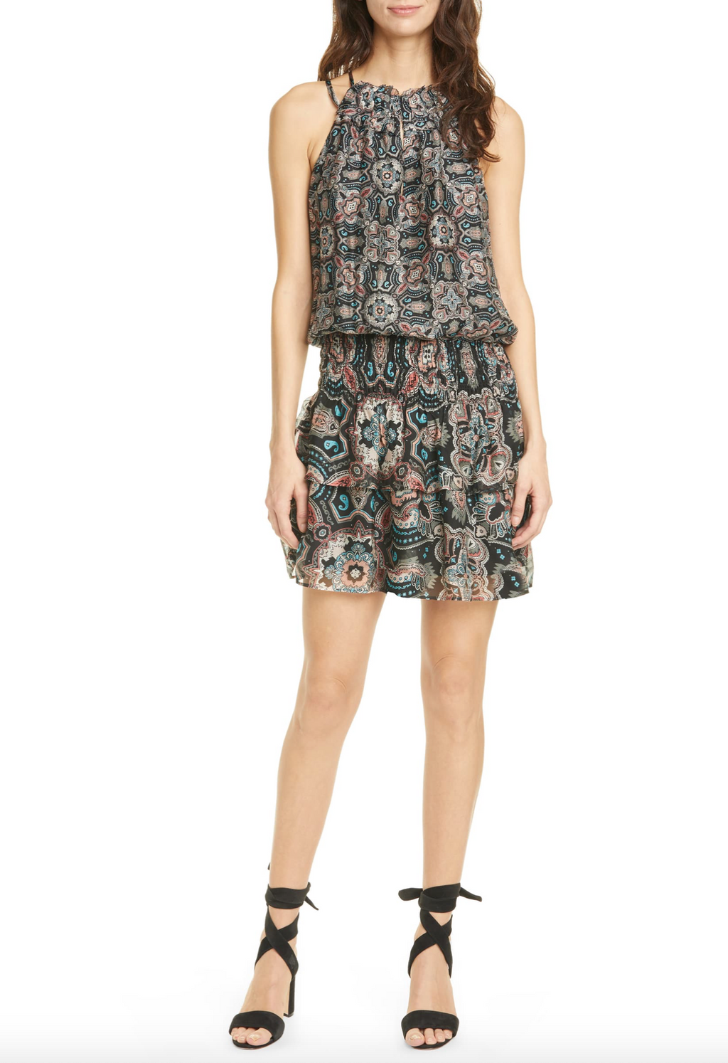 Ramy Brook - The Brady Dress in Black Combo Print
