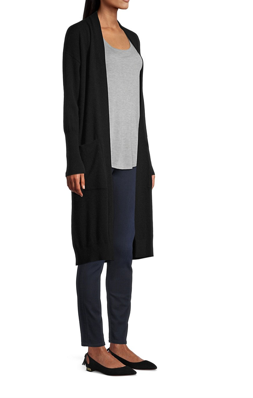 Minnie Rose - Cashmere Duster in Black
