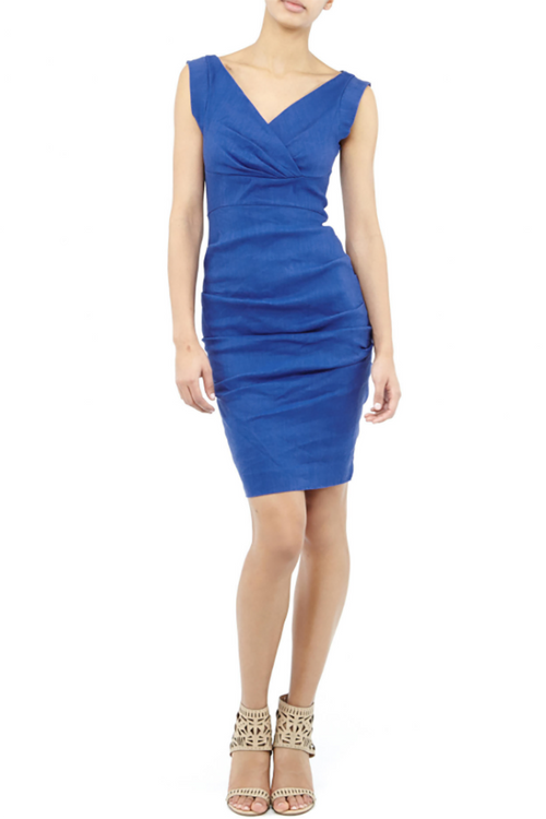 Nicole Miller - V-Neck Tucked Ruched Dress in Blue