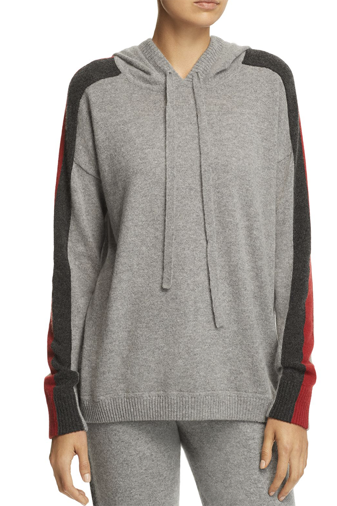 Minnie Rose - Track Stripe Cashmere Hooded Sweatshirt in Silver Grey Combo FINAL SALE