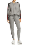 Minnie Rose - Track Stripe Cashmere Hooded Sweatshirt in Silver Grey Combo FINAL SALE - Lydia's World Boutique