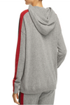 Minnie Rose - Track Stripe Cashmere Hooded Sweatshirt in Silver Grey Combo