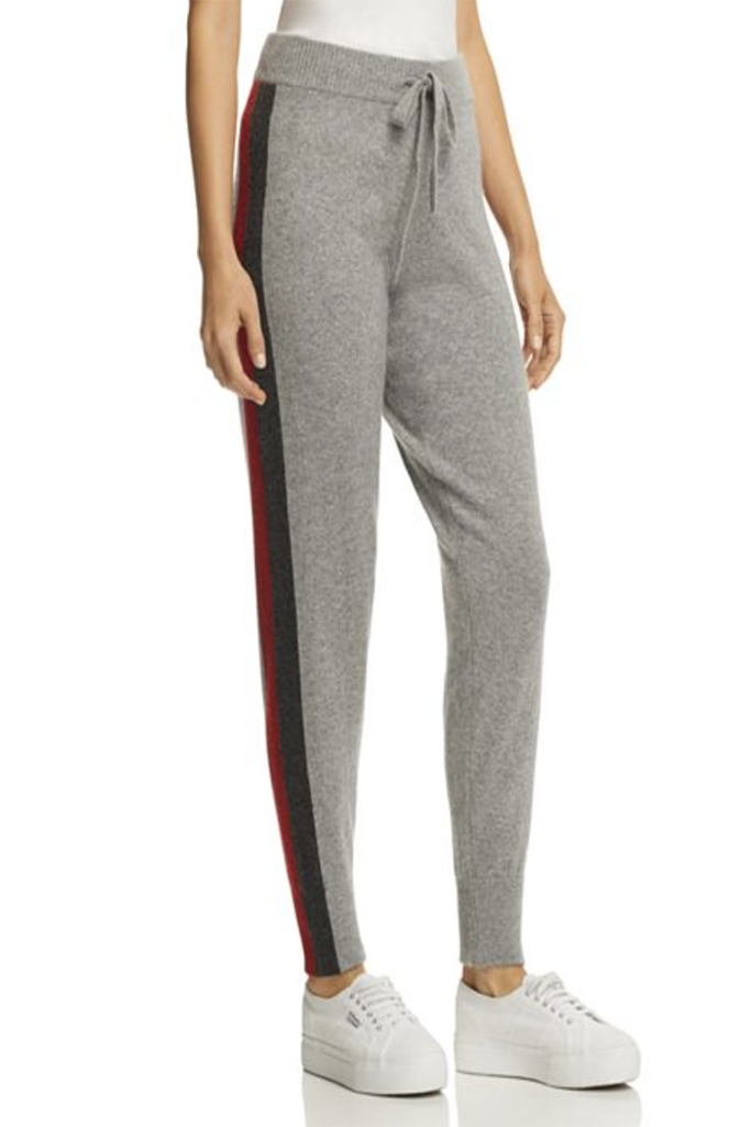 Minnie Rose - Track Stripe Cashmere Jogger Pant in Silver Grey Combo