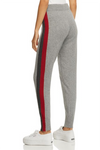 Minnie Rose - Track Stripe Cashmere Jogger Pant in Silver Grey Combo FINAL SALE - Lydia's World Boutique
