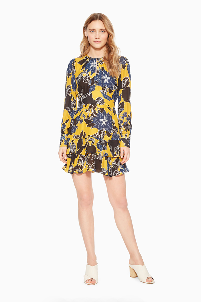 Parker - Hayley Dress in Canary Yellow Floral Print