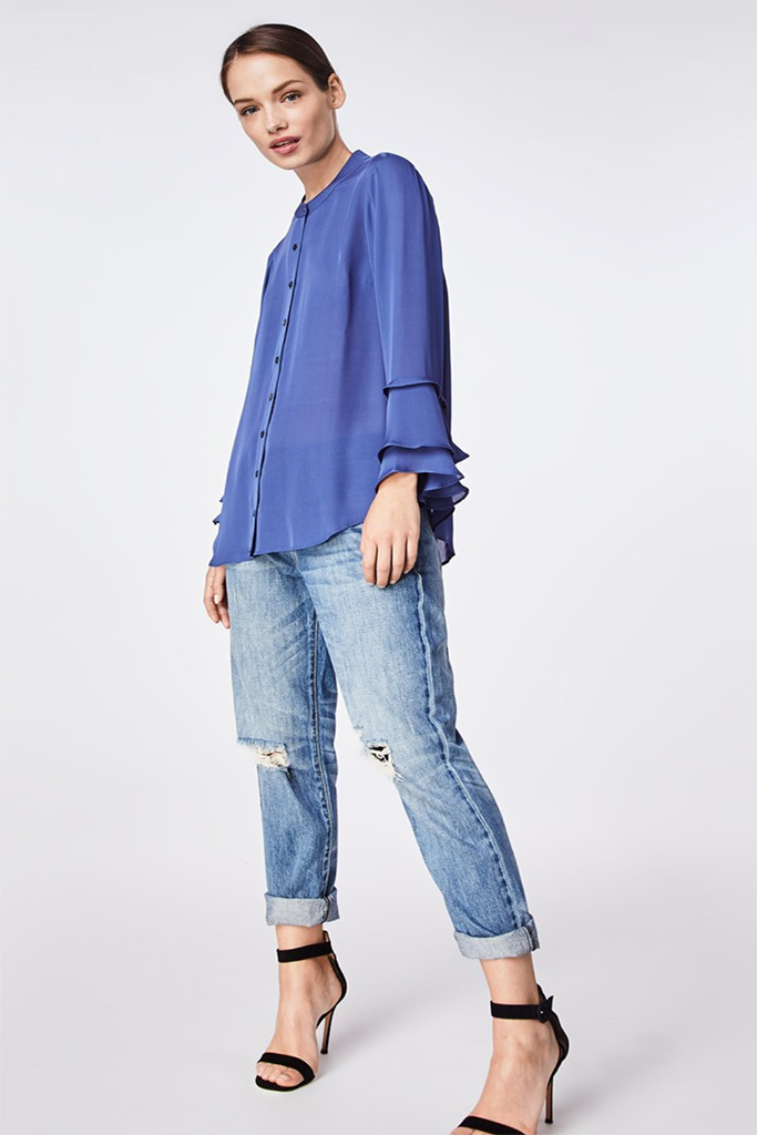 Nicole Miller -  Silk Blend Ruffle Sleeve Blouse in denim blue FINAL SALE