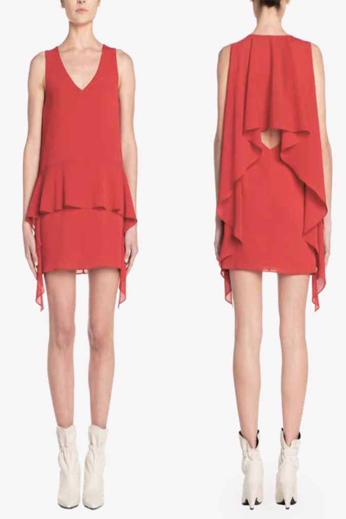 Chris Gramer - Multi Tier Ruffle Dress in Red One size small left FINAL SALE