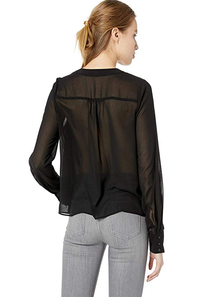 Nicole Miller - Solid Silk Blend Tie Blouse Black - Lydia's World Boutique
