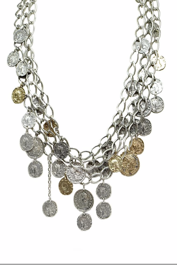 Tat 2 - Vintage Silver 3 Tier Roman Coin Necklace - Lydia's World Boutique