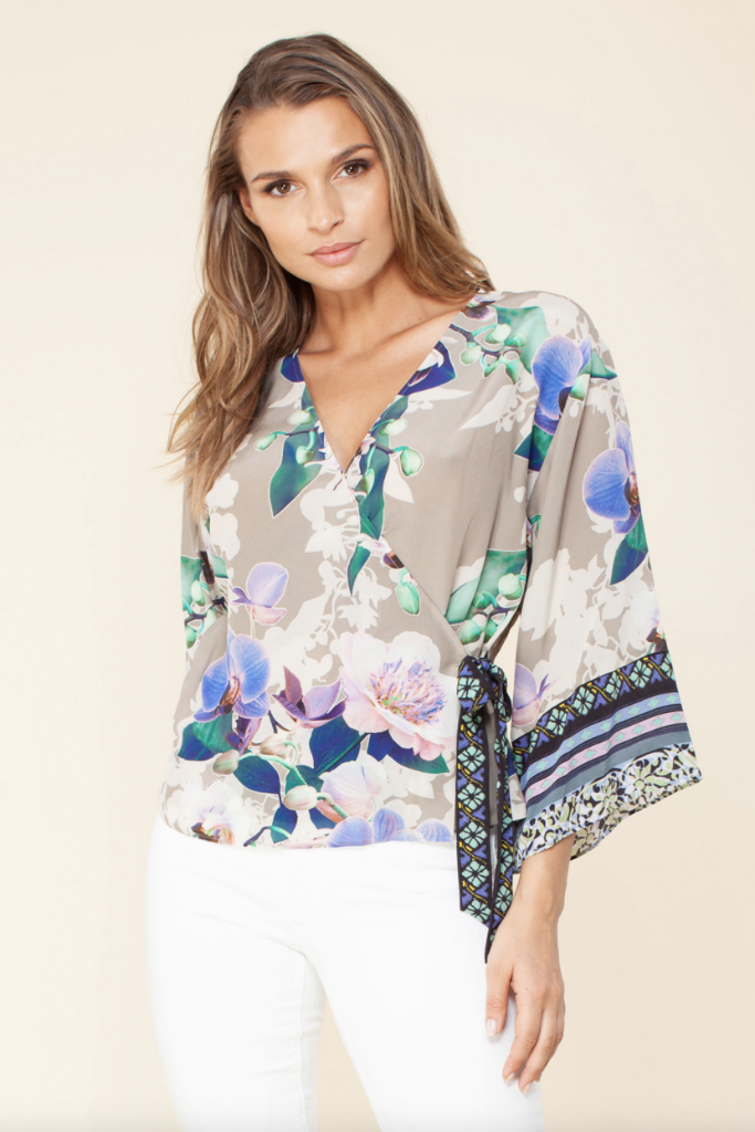 Hale Bob - Eulalia Silk Wrap Top - Lydia's World Boutique