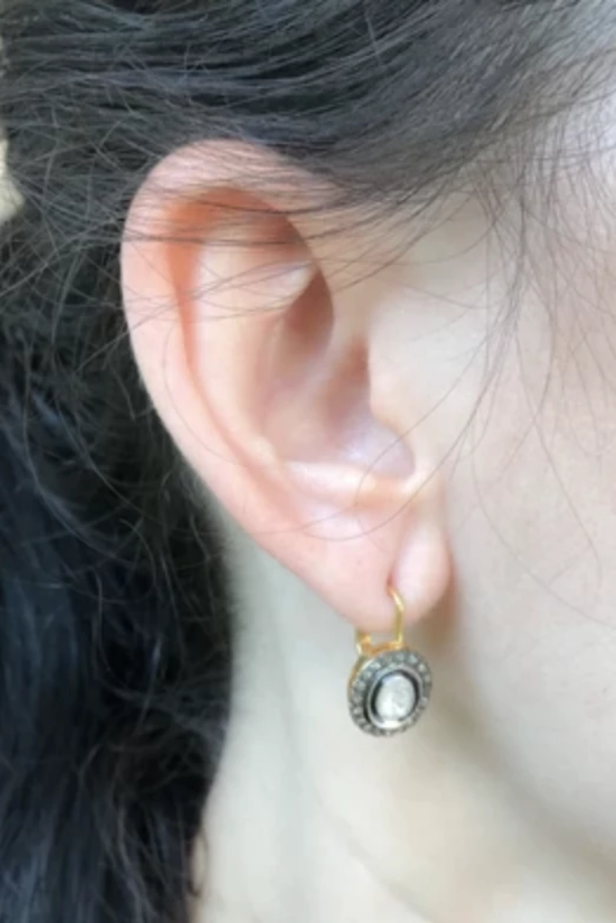 Tat2 - Vintage Silver Labradorite Talen Coin Earrings - Lydia's World Boutique
