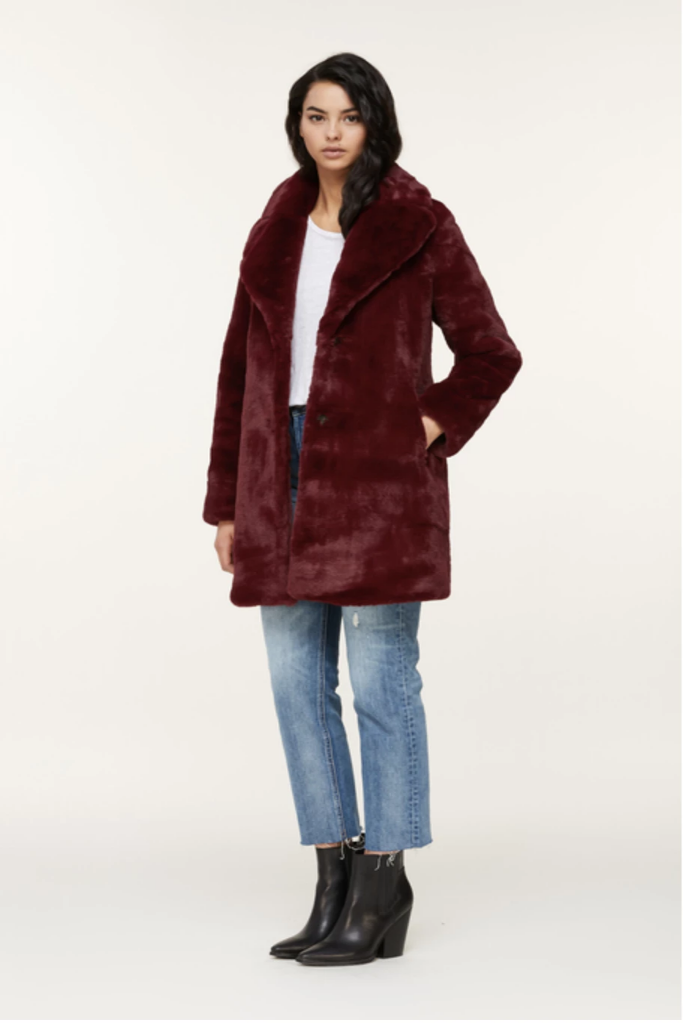 Soia & Kyo - Renada plush faux fur coat in Oxblood
