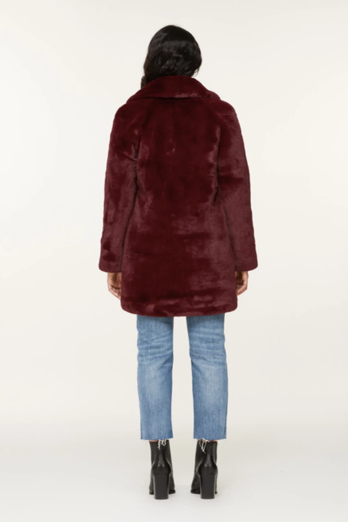 Soia & Kyo - Renada plush faux fur coat in Oxblood - Lydia's World Boutique