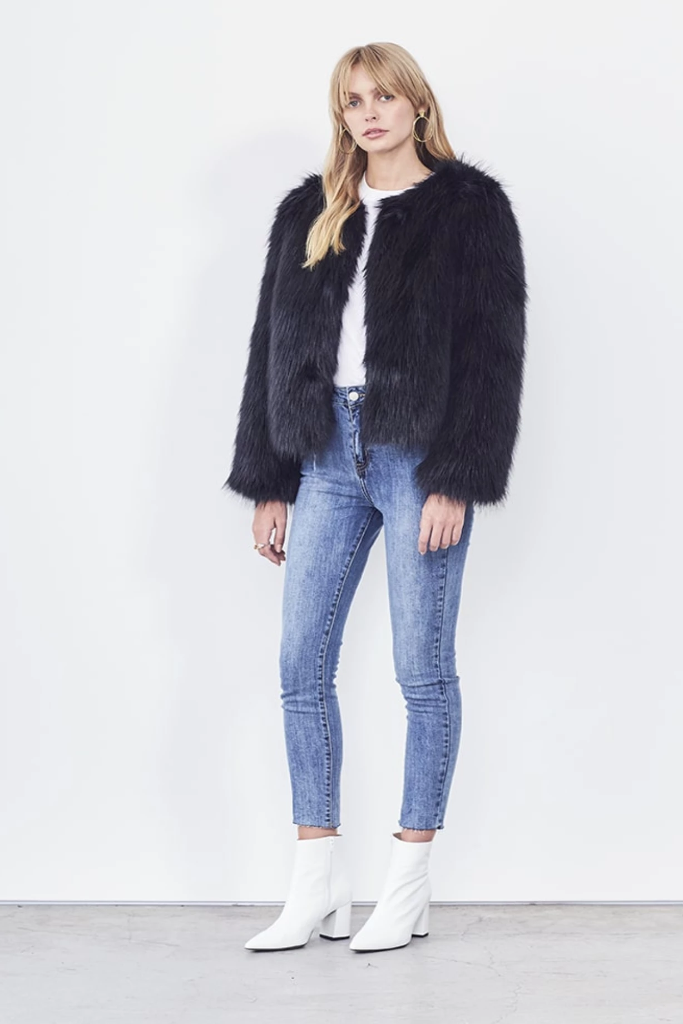 H Brand - The Ruby in Faux Fur Black 50% OFF FINAL SALE