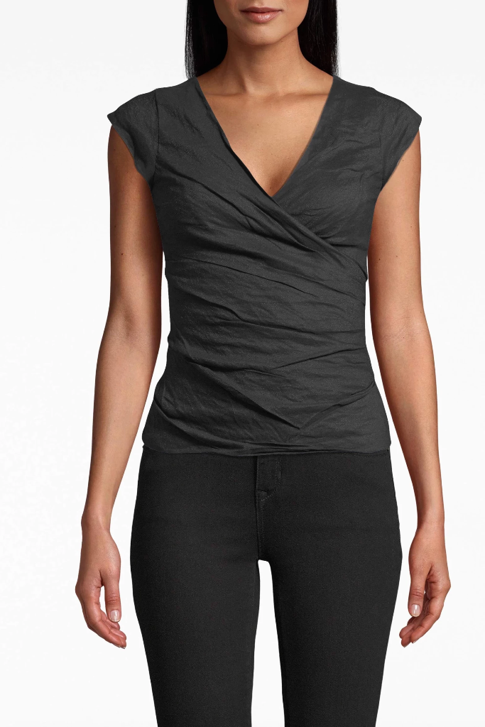 Nicole Miller - Cotton Metal Low Neck Top in Black