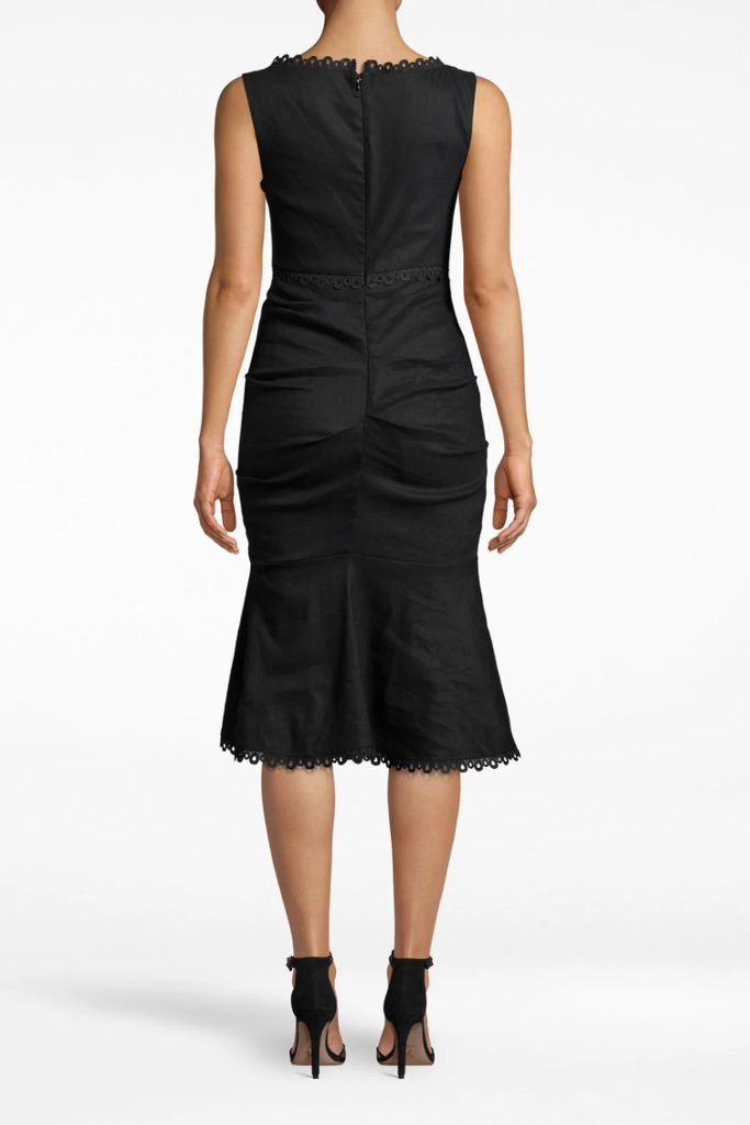 Nicole Miller - Stretch Linen Midi Dress in Black