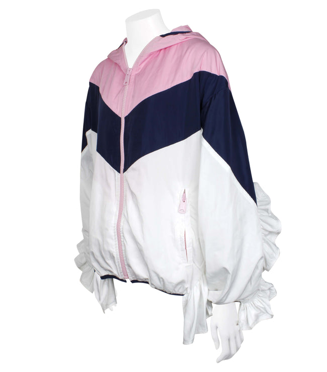 Oversize Colour-block Jacket with Ruffle Sleeves