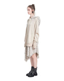 Hooded Asymmetric Cotton-jersey and Tweed Mini Dress