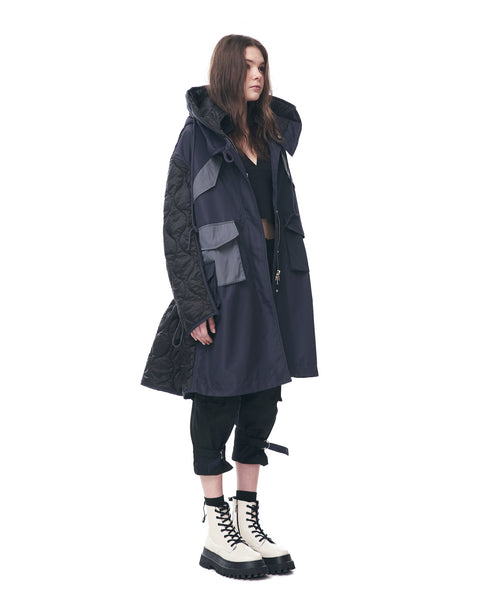 Long Parka Jacket With Quilted Back