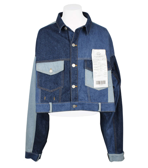 Solo Receipt Cropped Denim Jacket  (Unisex)