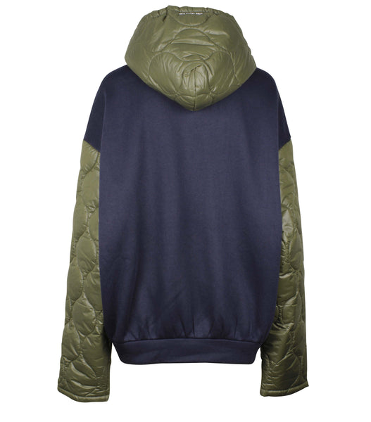 Contrasted Quilted Zip Up Hoodie (Unisex)